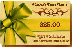 henna tattoo gift certificates are Available in any dollar amount and redeemable for parties, events or private or group services.